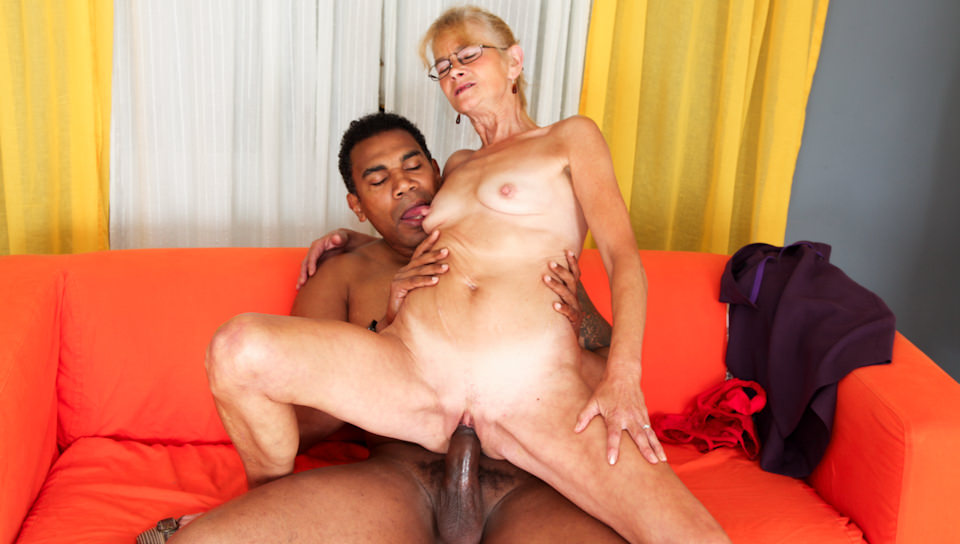 Blonde granny Beata gets fucked by ebony guy
