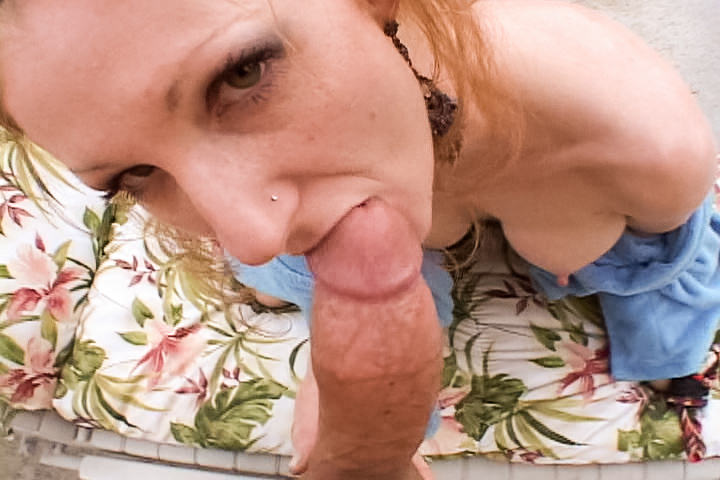 Filthy red head MILF sucks and gags on fat cock in POV