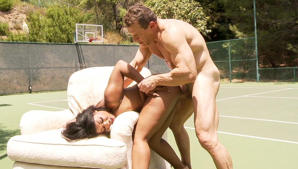 Jay Huntington bangs Megan Vaughn on couch on tennis court