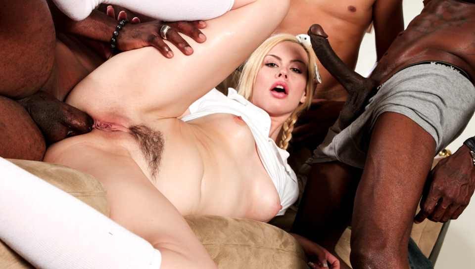 Ebony Teen First Gangbang