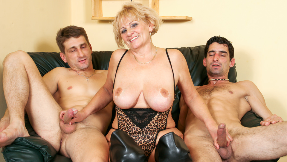 Busty granny Katalin gets fucked in threesome