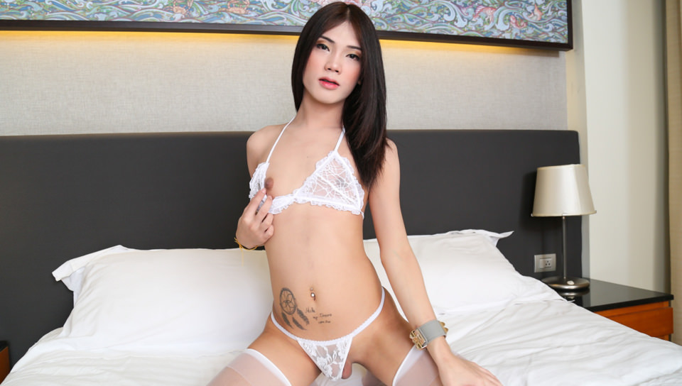 Ladyboy Muay Strokes in White Fishnets