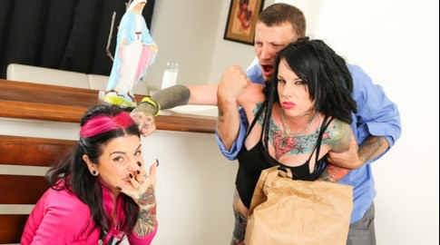 Out of jail joanna angel mr pete romance. Mr. Pete's ex-wife Romance was doing 15 years in the penitentiary, and in that time Pete found himself a changed man - a Christian, in love with the saintly Joanna Angel. Things got heated when Romance showed up at the front door expecting his excitement, and to feed her some penish deep down her throat - only to find the goody-two-shoes kept her anal plugs on display thinking they were heirloom salt shakers. Pete was a liar and always missed his bad girl ex! Looks like violence and anal sex while bent over the kitchen table was the answer for Romance. Hallelujah!