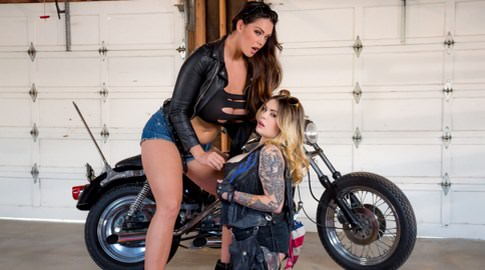 Biker boobs farrah paws alison tyler. Farrah Paws was going to do whatever it takes to get into the baddest motorcycle gang in town - even if she had to have lesbian intercourse with the leader of the pack, Alison Tyler, though this initiation was nothing to complain about! It's Alison's way or the highway and if Farrah wanted in, she had to get up in that pussy and make her cum. She was a little nervous but loved cock sucking on Alison's considerable breasts and licking all her curves up and down, like a leather-clad sex kitten, glancing into Alison's eyes for approval when she began to finger her cunt. Girls who ride (each other) are so hot!