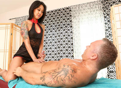 Asian strip mall massage 02 marcus london saya song. Lascivious Asian Saya Song fucks & squirts from her hairy pussy.